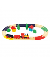 Lesena železnica z vlakci